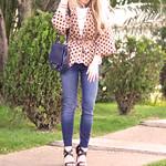 Kooba bag + jeans and polka dots