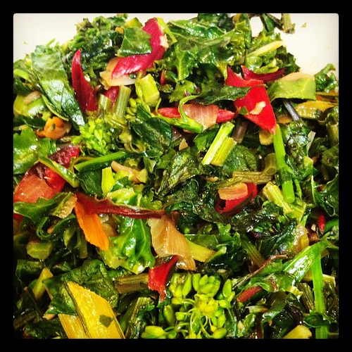 Sautéed Homegrown Mixed Greens (and Yellows and Reds)