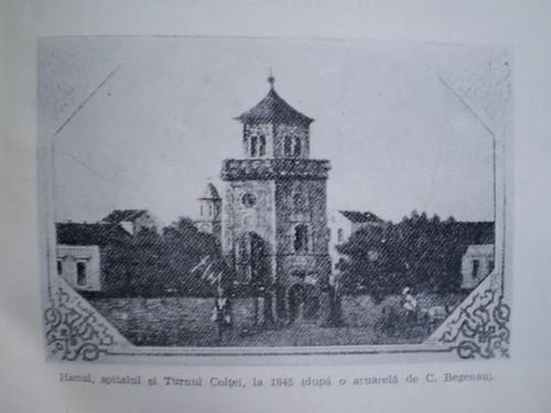 hanul, spitalul si turnul coltei in 1845, cu partea superioara tocmai reparata