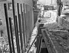 Construction of bulkhead on Yesler, 1946