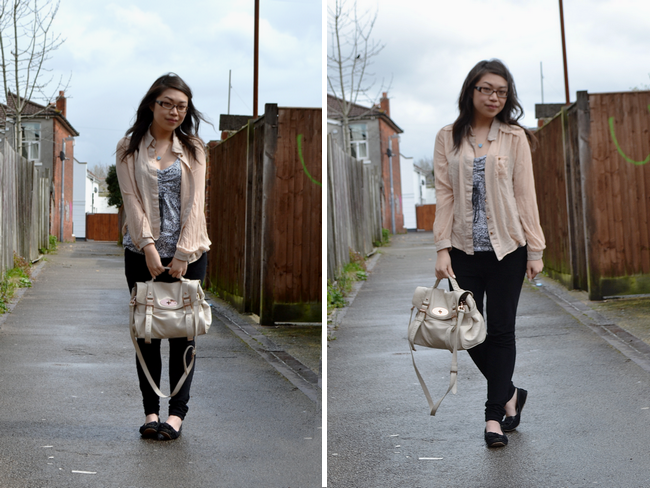 daisybutter - UK Style Blog: what i wore, british style blogger, sheer shirt, vintage vest, jeans