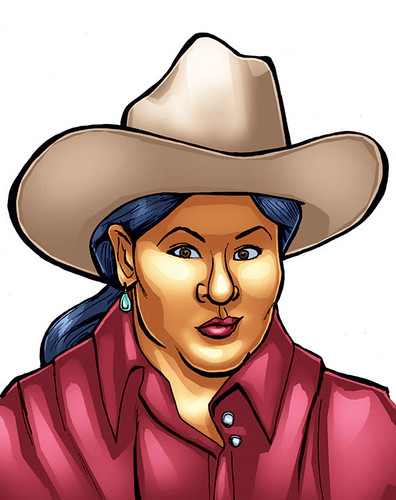 A cartoon self-portrait of Arigon Starr