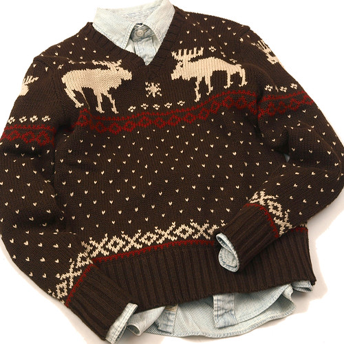 Ralph Lauren / V-Neck Reindeer Sweater