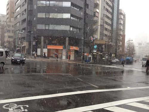 交差点の雪