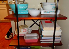 kitchen shelves pyrex
