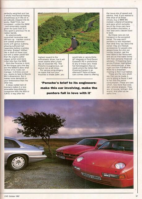 BMW 850i - Jaguar XJR-S V12 & Porsche 928 GTS Group Road Test 1992 (7 ...