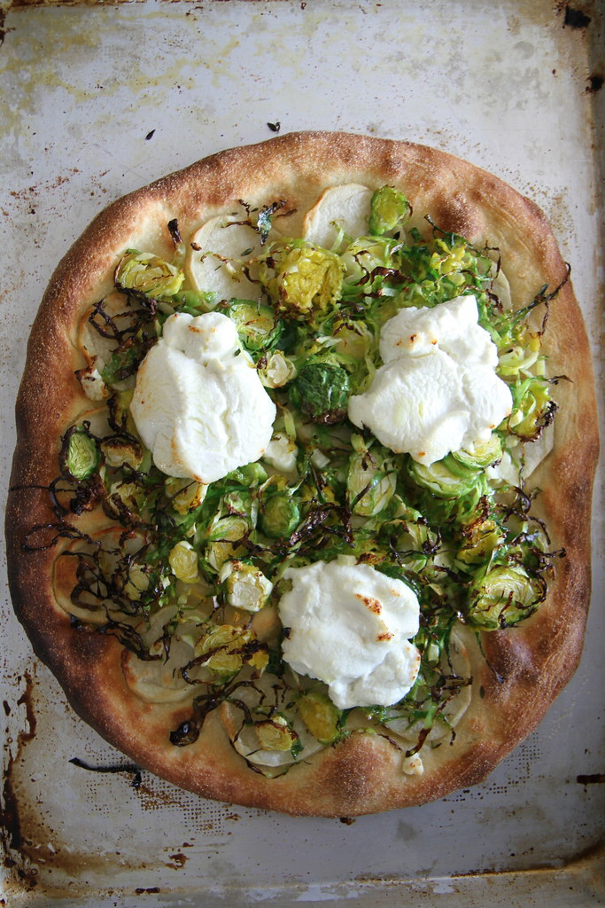Potato, Brussels sprouts and goat cheese Pizza