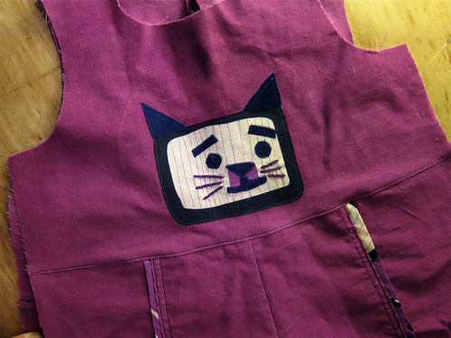 "Ottobre ""Pupu"" Corduroy Overalls in Progress: Kitty Appliqué!"