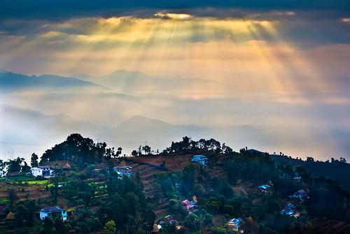 nepal nature landscape 日出 尼泊尔 博卡拉 耶稣光