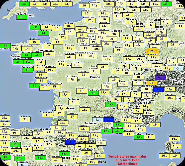 températures maximales et douceur généralisée du 9 mars 1977 météopassion