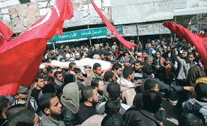 The funeral in Gaza of Zohair al-Qaisi who was killed by Israeli airstrikes on March 10, 2012. The Israelis are becoming more aggressive in their attacks on the Palestinians. by Pan-African News Wire File Photos