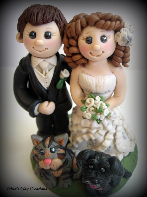 Bride and Groom Wedding Cake Topper A custom made wedding cake topper