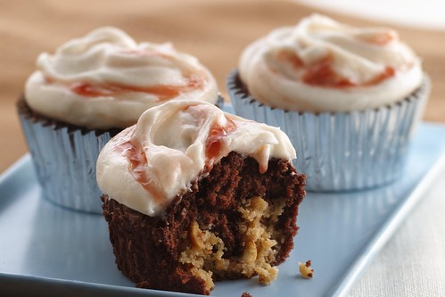 Strawberry Swirl Peanut Butter Brownie Cupcakes