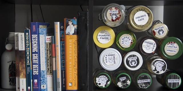 food jars and cookbooks