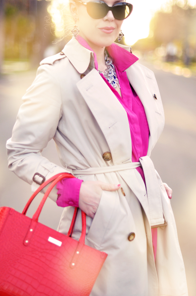 pink and red together -  burberry trench - cat eye sunglasses