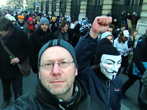 Anti-ACTA protest in Paris 11 February 2012