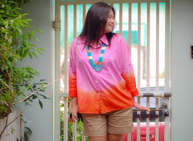 diy two tone shirt, pink and orange shirt, how to dye a shirt