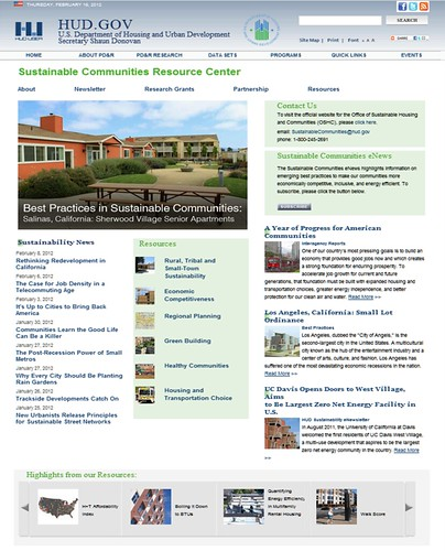 the front page of HUD's Sustainable Communities Resource Center