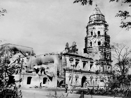 WWII damaged Lingayen Church, Pangasinan, Philippines, c1945, Philippines