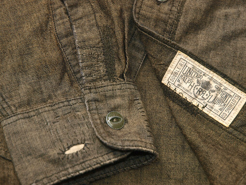 RRL / Repaired Black Chambray Work Shirt