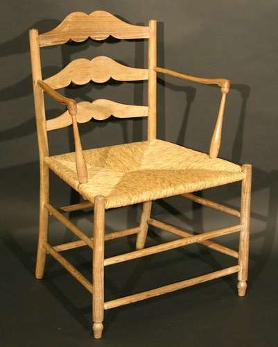A pass type ladder back chair in ash, designed in the manner of Gimson and said to have been made by the craftsman himself