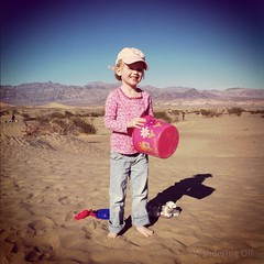 Playing in the sand. Death Valley NP.