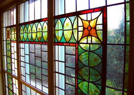 Stained glass bedroom window
