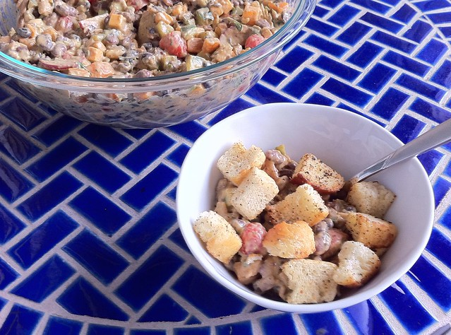 Guacamole Bean Salad w/ Homemade Toasted Croutons