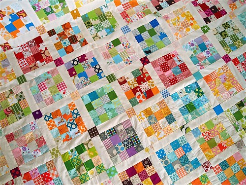 postage stamp quilt detail.