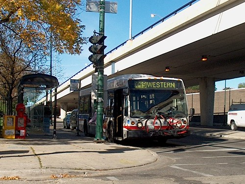 Southbound CTA Rt # 49 Western Avenue bus. Photographed at Western and Belmont Avenues.  Chicago Illinois USA. Oct 2006. by Eddie from Chicago
