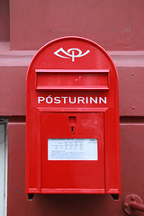 sign, red, post box, letter box,