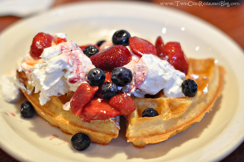 Waffles with Berries and Whipped Cream at Maynards ~Rogers, MN