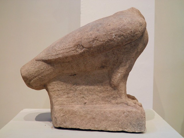 Marlble eagle with folded wings, from the sancturaty of Zeus Hypsistos, Archaeological Museum, Dion