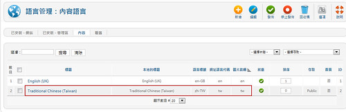 Joomla 新增內容 (Content)語言