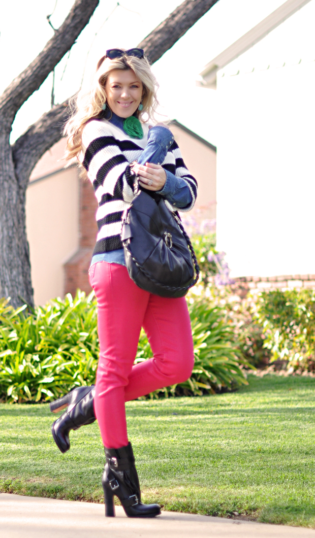 pink pants-denim- outfit-brights-stripes