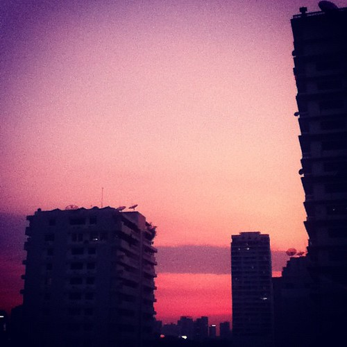 Magenta Bangkok sunset.