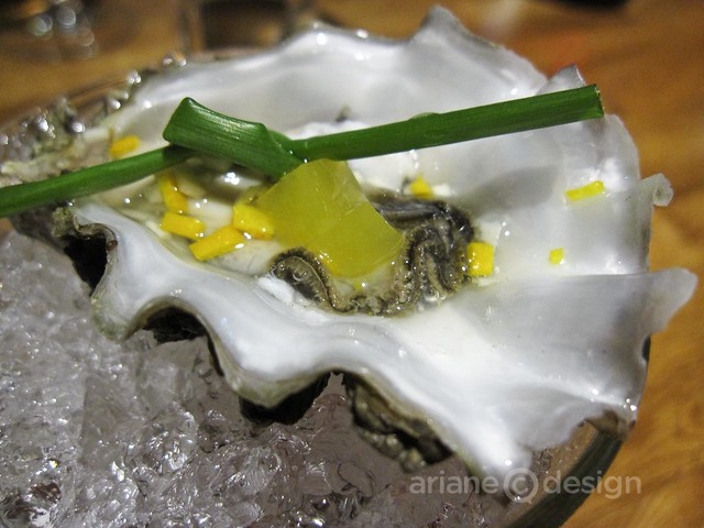 Chef Creek oyster, with orange aspic, orange blossom mignonette, and chive