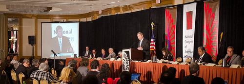 Agriculture Secretary Tom Vilsack today joined tribal leaders from across the nation at the National Congress of American Indians Tribal Nations Legislative Summit in Washington, D. C. on Wednesday March 7, 2012, where he announced investments of $900,000 for positive nutrition education and physical activity habits that can lead to healthier lifestyles. USDA photo by Lance Cheung.