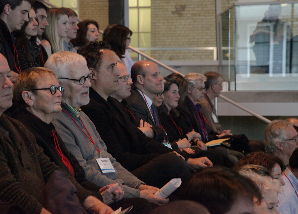 College Alumni and Advisory Council members are part of the capacity crowd at the Rem Koolhaas lecture.