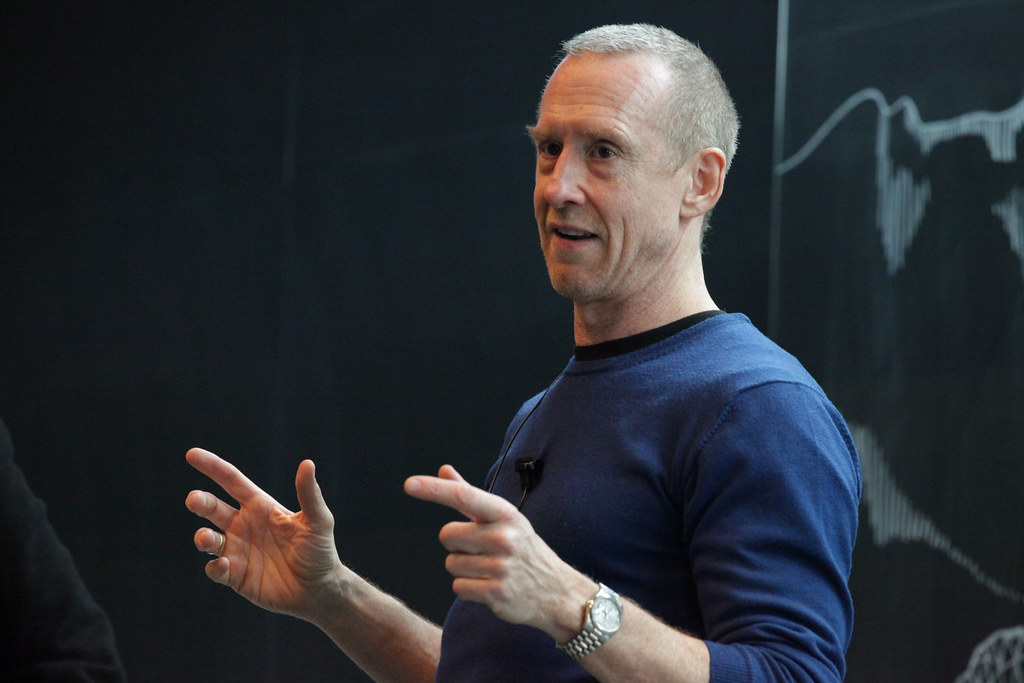 William Forsythe speaks in the Abby and Howard Milstein Auditorium on Saturday afternoon.