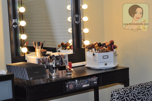 I am really in love with my new vanity  especially since hubby made the  mirror  It has 5 bulbs on each side  and believe me  that is PLENTY of light. My Makeup Vanity Set Up With DIY Lighted Mirror   The Shades Of U