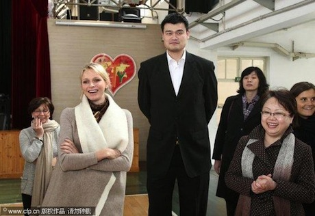 March 12, 2012 - Yao Ming and the Princess of Monaco visit a special needs school in Shanghai