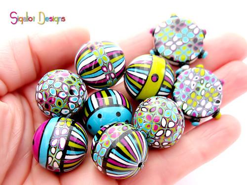 round striped beads mix1-4