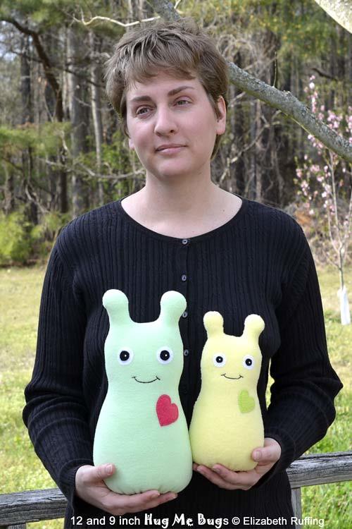 Light Yellow Fleece and Mint Green Hug Me Bugs, original art toy by Elizabeth Ruffing