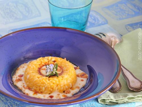 risotto alla zucca con fonduta taleggio e saba