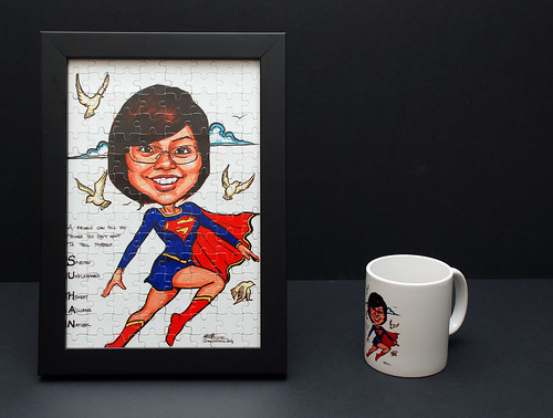 Supergirl caricature printed into jig-saw puzzles and mug
