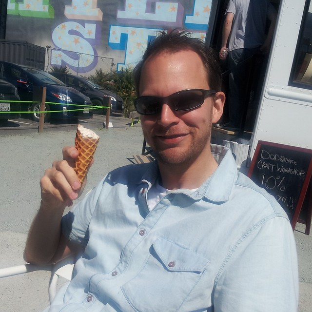 man enjoying a waffle cone at Smitten in San Francsico