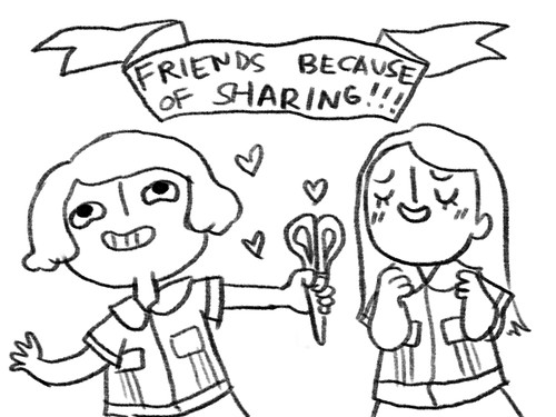 friends cos of sharing