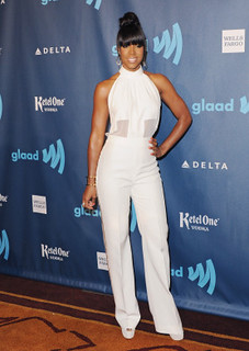 Kelly Rowland White Trousers Celebrity Style Women's Fashion