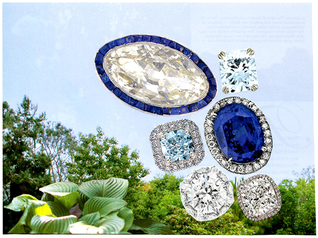collage of diamonds, sapphires, and greenery
